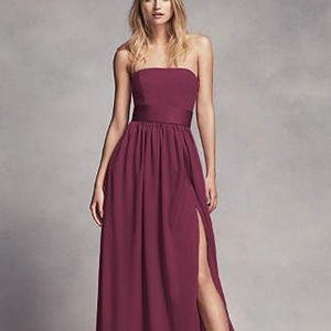 Davids Bridal Strapless Vera Wang Dress - Wine